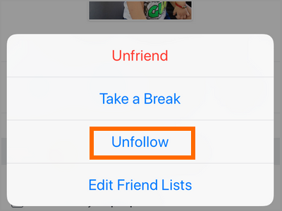 iPhone Facebook Friends Button Unfollow