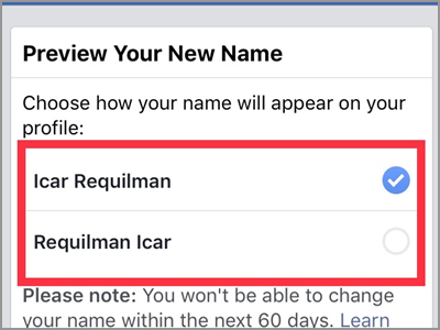 iPhone Facebook Name Change Preview