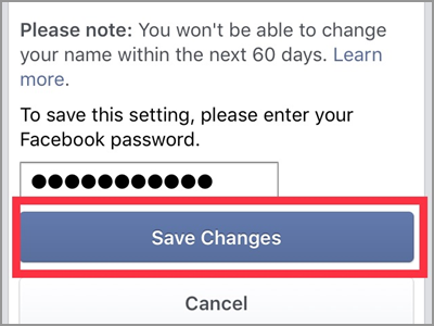 iPhone Facebook Name Change enter Password Save Changes