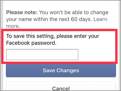iPhone Facebook Name Change enter Password