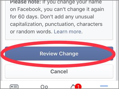 iPhone Home Facebook Menu Settings Account Settings General Name change Name Review Change