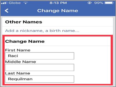 iPhone Home Facebook Menu Settings Account Settings General Name change Name