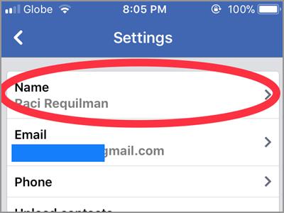 iPhone Home Facebook Menu Settings Account Settings General Name