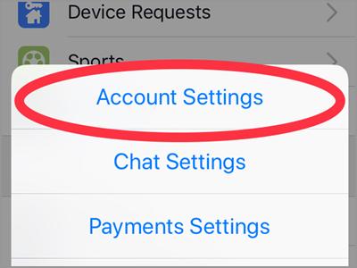 iPhone Home Facebook Menu Settings Account Settings
