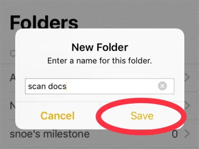 iPhone Home Notes New Folder Name Save