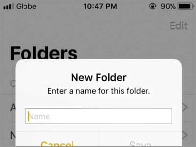 iPhone Home Notes New Folder Name