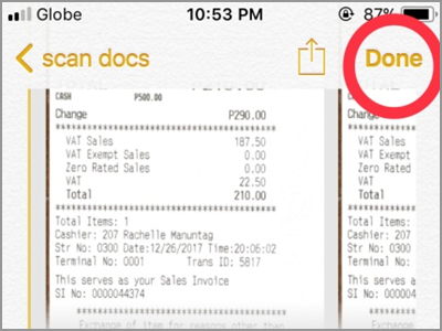 iPhone Home Notes Scan Documents Done Button