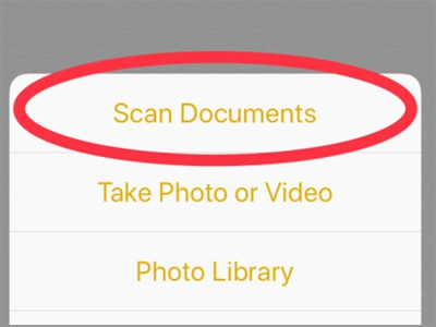 iPhone Home Notes Scan Documents
