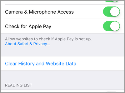 iPhone Home Settings Safari Clear History and Website Data Clear History and Data DONE