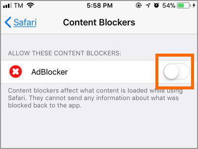 iPhone Home Settings Safari Content Blocker Swotch