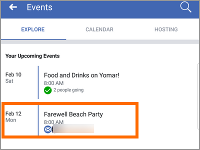 Android Facebook Menu Events Choose Event