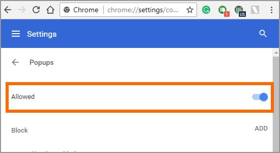 Google Chrome Menu Settings Advanced Content Popups Allowed