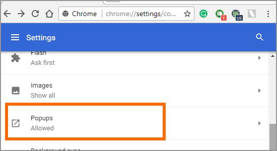 Google Chrome Menu Settings Advanced Content Popups