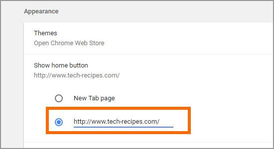Google Chrome Setting Home button Enter Site
