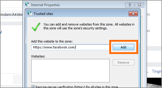 How to add trusted sites in Google Chrome 8