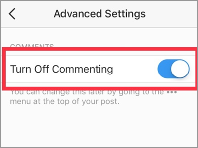 Instagram Add New Post Advanced Setting Turn Off Commenting
