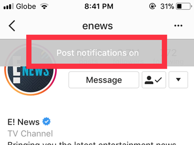 Instagram Profile Following Other Options Button Post Notifications Turned On