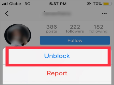Instagram Profile Options Unblock