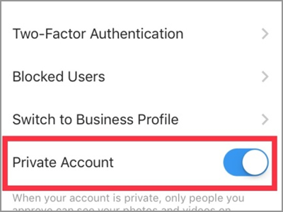 Instagram Profile Settings Private Account Switched ON