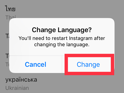 Instagram Settings Language Confirm Change