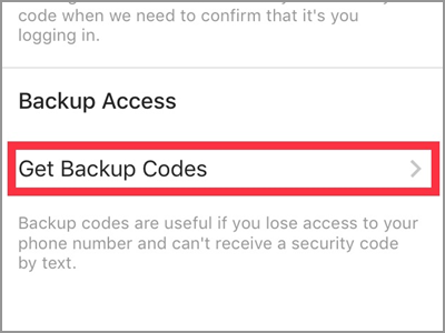 Instagram Settings Two-Factor Get Backup Codes