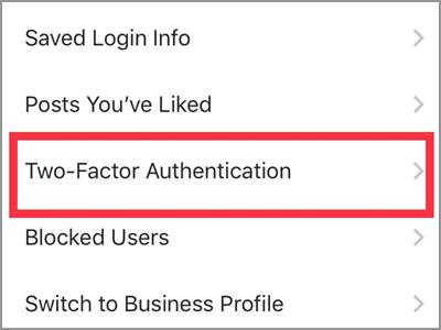 Instagram Settings Two-Factor