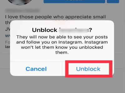 Instagram Unblock Confirmation