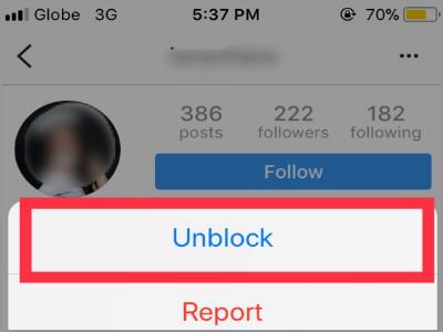 Instagram User Profile Setting Unblock