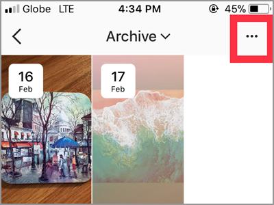 Instragram Profile Archive List More Button