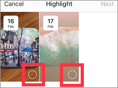 Instragram Profile Archive List Select Highlights