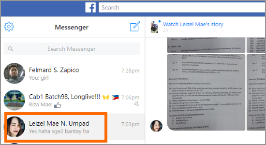 PC Facebook Messenger Click Conversation
