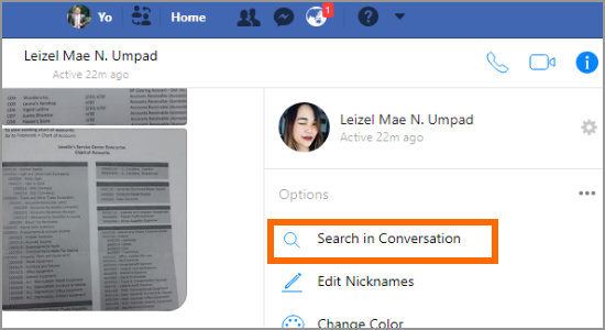 PC Facebook Messenger Conversation Searcgh in Conversation