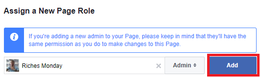 Add admin to Facebook page