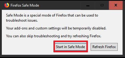 Start FireFox in Safe Mode