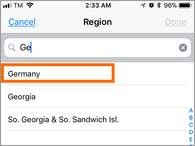 iPhone Settings General Language and Region Tap Region