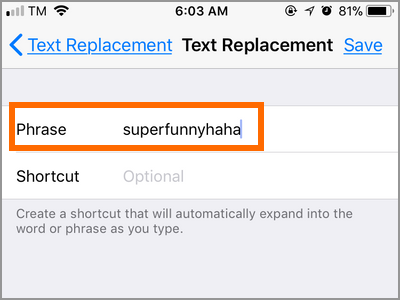 iPhone Settings Keyboard Text Replacement Phrase