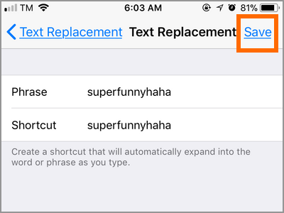 iPhone Settings Keyboard Text Replacement Shortcut Save