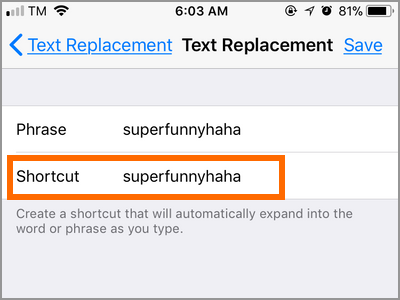 iPhone Settings Keyboard Text Replacement Shortcut