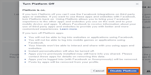 Facebook Web Login Menu Settings Apps Apps Website and Plugins Edit Disable Platform