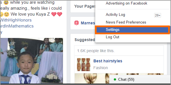 Facebook Web Login Menu Settings