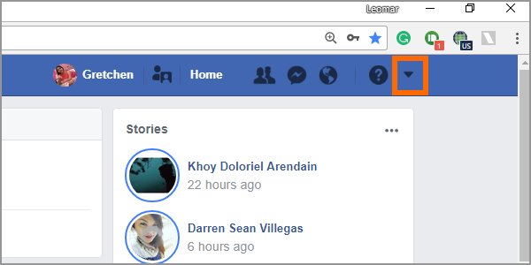 Facebook Web Login Menu