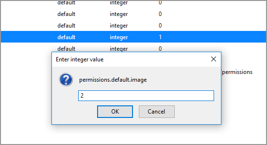 Firefox about config permissions.image integer value change