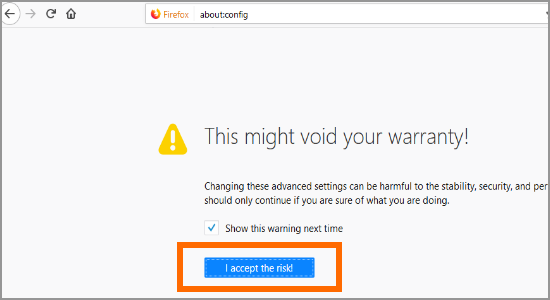 Firefox i Accept the Risk