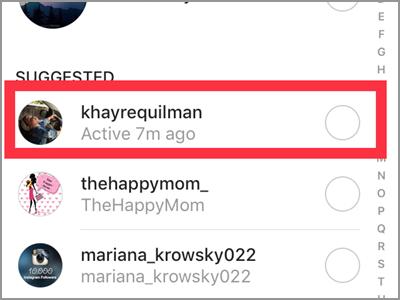 Instagram Camera Sent To Choose Recipient