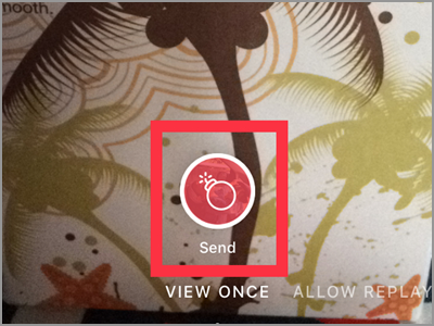 Instagram Direct Message icon Choose Recipient Camera button View Once Send button