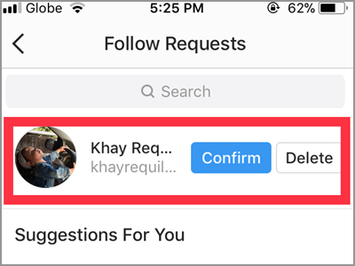 Instagram Follow Requests Confirm or Delete