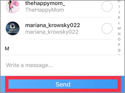 Instagram Following Menu Share This Profile Send