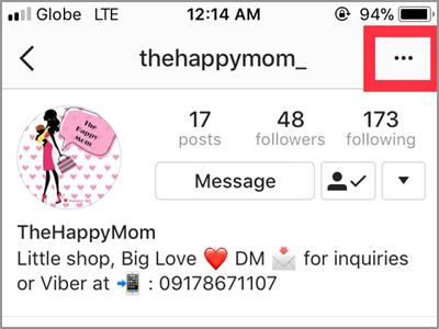 Instagram Following Menu