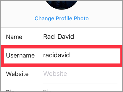 Instagram Profile Edit Profile Username