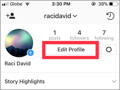 Instagram Profile Edit Profile